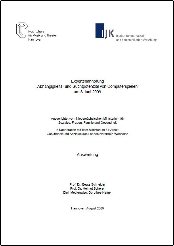 Expertenanhörung 'Abhängigkeits- und Suchtpotenzial von Computerspielen' am 8.Juni 2009