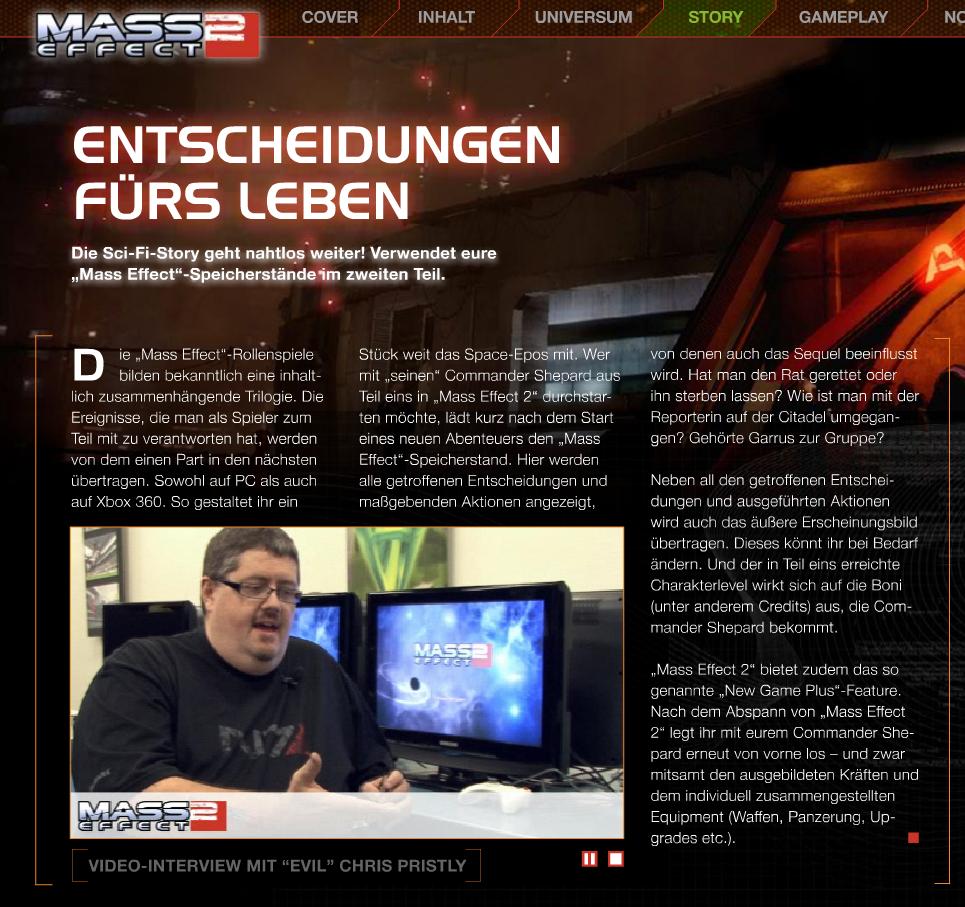 Auch in Mass Effect 2 können Spieler ihren Helden aus dem ersten Teil laden und werden dann mit den Konsequenzen einst getroffener Rollenspiel-Entscheidungen konfrontiert. (Quelle: www.masseffect2-magazin.de)