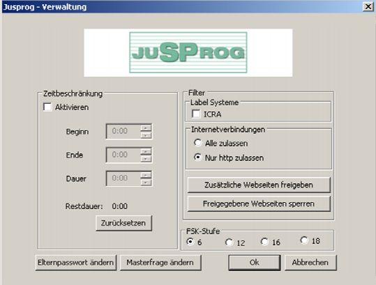 Screenshot JusProg (Quelle: jugendschutzprogramm.de)