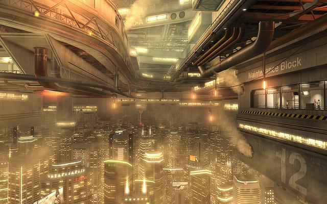 Futuristische Skyline aus dem Spiel Deus Ex: Human Revolution (Quelle: Steam Postcards)