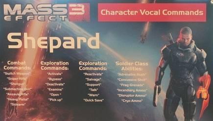 Liste möglicher Sprachbefehle für Mass Effect 3