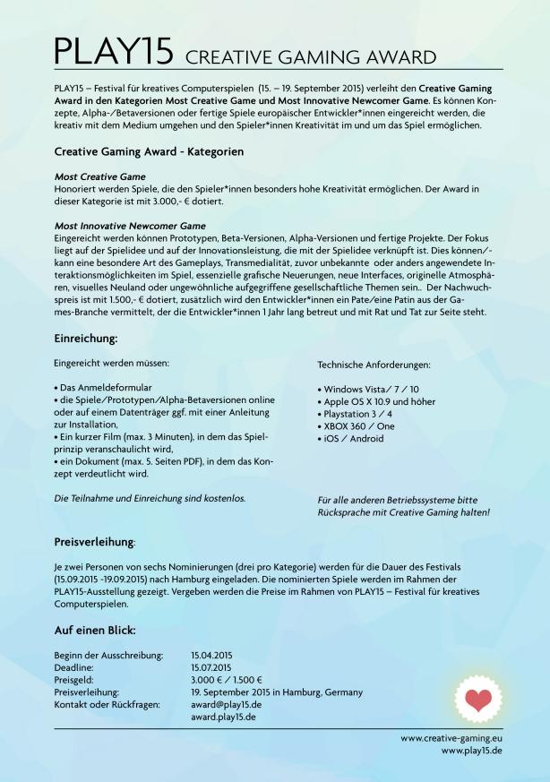 Kreative Spiele und Konzepte für den Creative Gaming Award gesucht