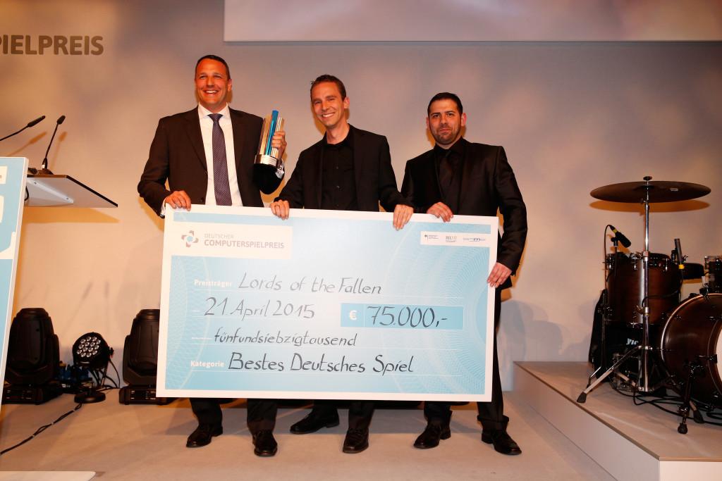 """2015 gewinnt Lords of the Fallen beim Deutschen Computerspielpreis den Titel """"Bestes Deutsches Spiel"""". Quelle: Deutscher Computerspielpreis Copyright: 2015 Franziska Krug"""