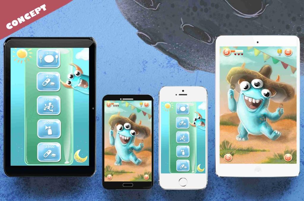 Konzeptzeichnungen der Patchie App: Diese soll Kindern und Jugendlichen helfen die Motivation bei der Therapie von Mukoviszidose hochzuhalten.