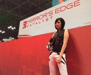 Cosplay und Computerspiele passen gut zusammen. Hier sehen wir die berühmte Cosplayerin Amie Lynn als Faith aus Mirrors Edge.