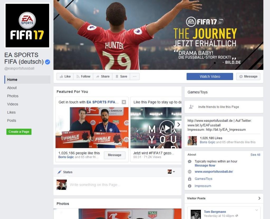 Die deutschsprache Facebookseite zur Fußballsimulation FIFA.