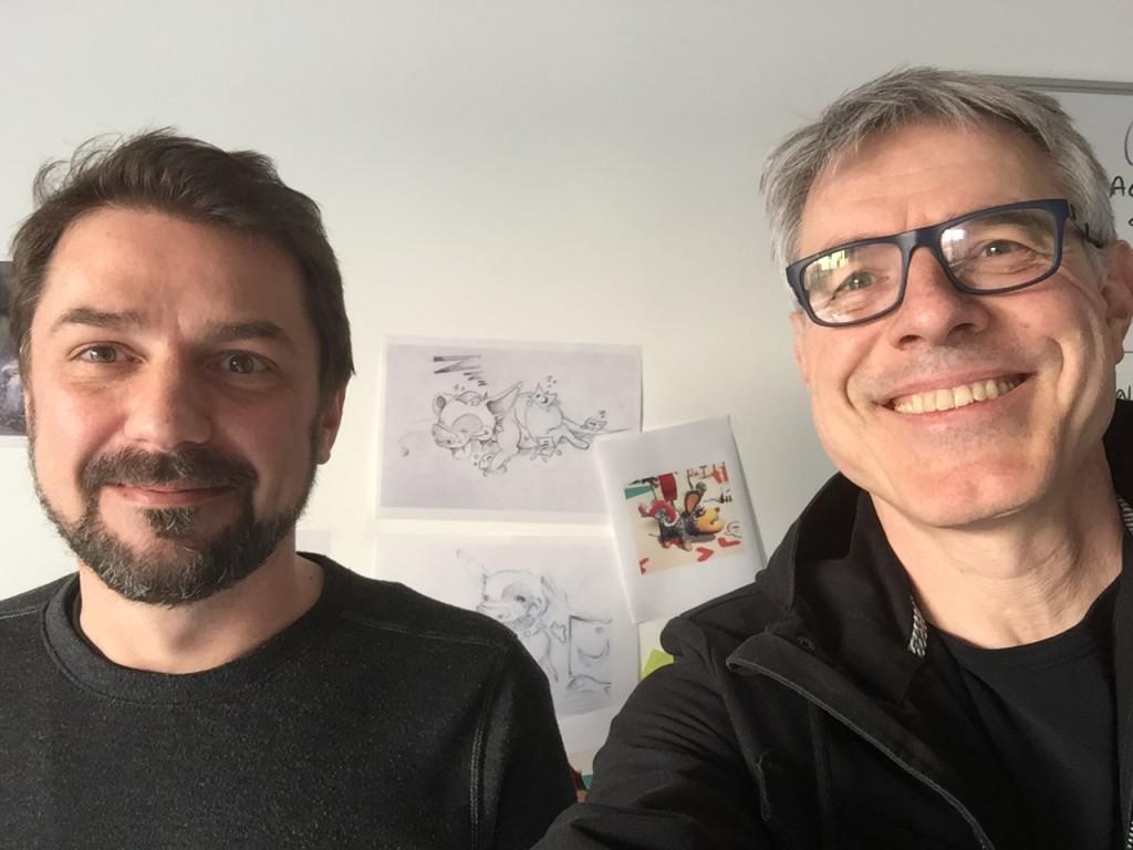 """Emmanuel Guardiola (links im Bild) traf ich vor Kurzem im Cologne Game Lab. Im Hintergrund sieht man Skizzen zu """"Antura and the Letters""""."""